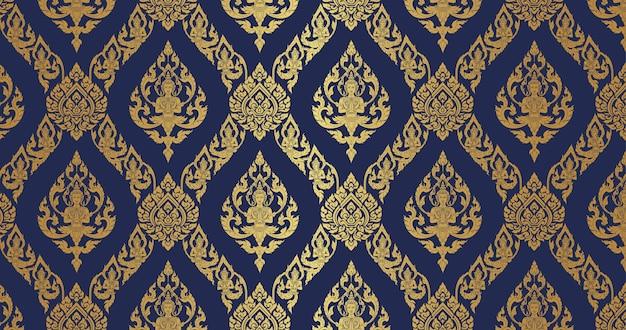 Tailandês padrão azul escuro e fundo dourado