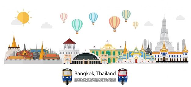 Tailândia e marcos e fundo de viagens