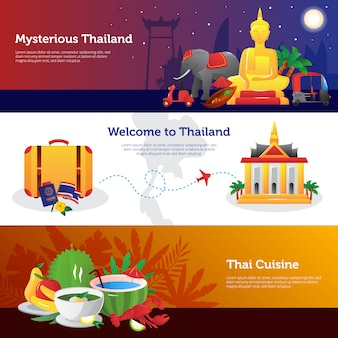 Tailândia para o projeto de página da web de viajantes com informações sobre cozinha tailandesa de transporte