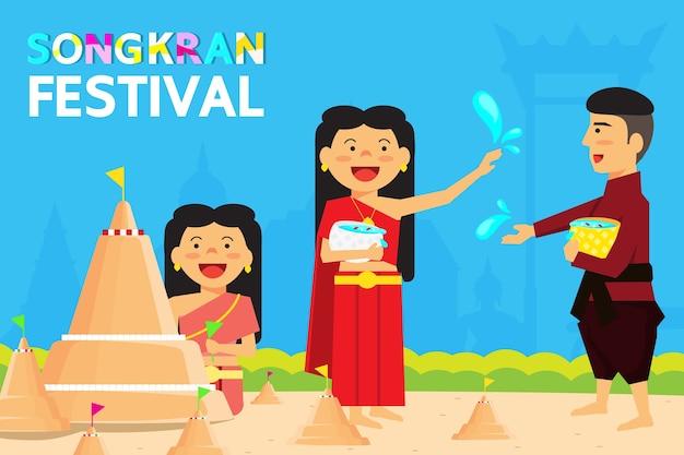 Tailândia songkran festival é o novo ano da tailândia