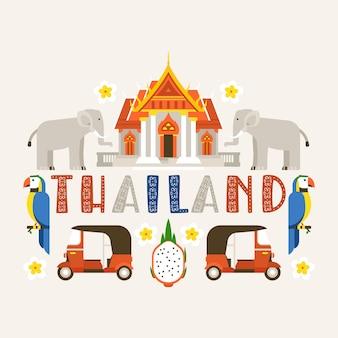 Tailândia tradições, cultura do país. memoriais antigos, edifícios, natureza e animais como elefante, pássaro papagaio.
