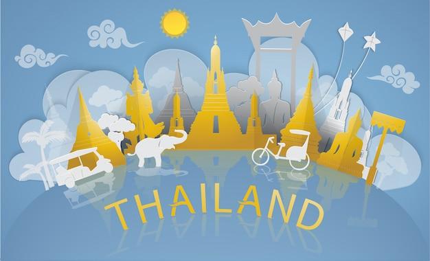 Tailândia viajar para monumentos famosos e atração turística da tailândia com estilo de corte de papel