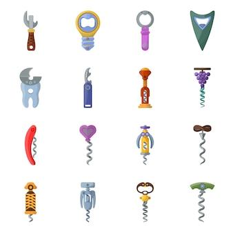 Tailspin do abridor para garrafa conjunto de elementos dos desenhos animados. ilustração isolada ferramenta espiral saca-rolhas. conjunto de elementos de giro para cortiça.