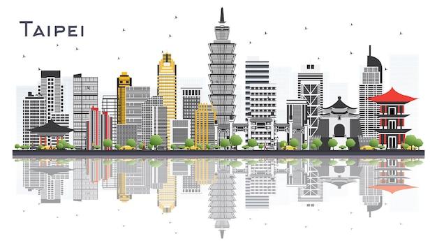 Taipei taiwan city skyline com edifícios cinzentos isolados no fundo branco