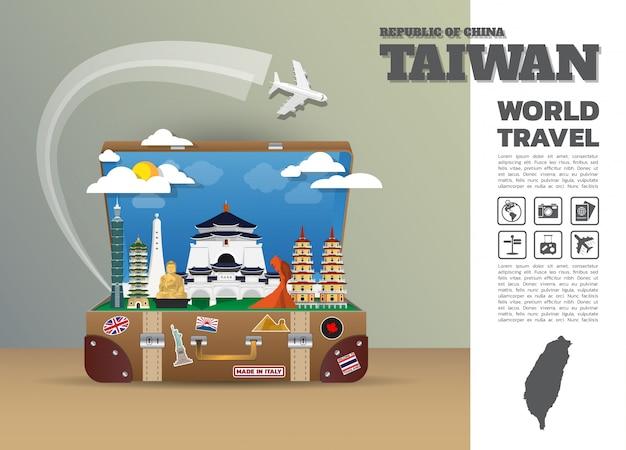 Taiwan global bagagem de viagem e viagem infográfico. modelo de design. / ilustração. Vetor Premium