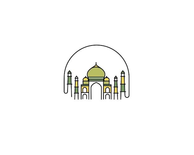 Taj mahal desenhado à mão, índia agra - ilustração em vetor arte linha.