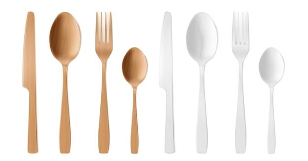 Talheres 3d de madeira e plástico, garfo, colher e faca descartáveis.