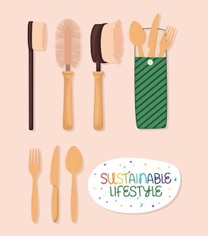 Talheres de estilo de vida sustentável