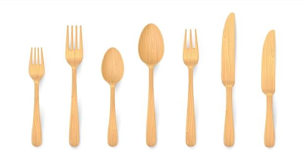Talheres de madeira realistas. garfos, colheres e facas de mesa em bambu biodegradável em material natural reutilizável. conjunto 3d eco isolado de madeira para preparar o jantar