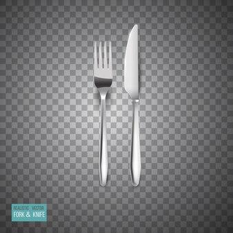 Talheres de metal conjunto realista garfo e faca isolado Vetor Premium