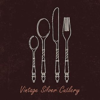 Talheres de prata desenhados à mão com textura vintage.