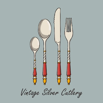 Talheres de prata vintage desenhados à mão.
