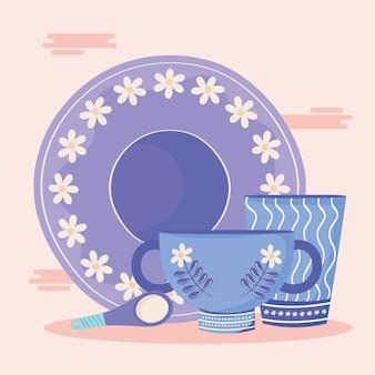Talheres e pratos de cerâmica