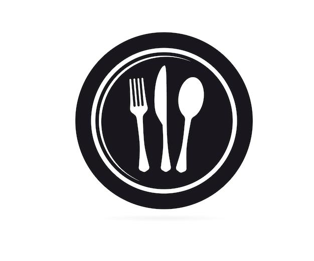 Talheres. silhueta de vetor de garfo e faca de placa. símbolo de restaurante