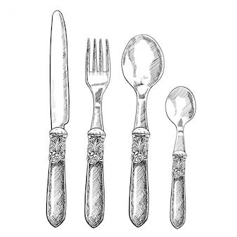 Talheres vintage mão desenhada com faca de mesa, garfo, colher e colher de chá