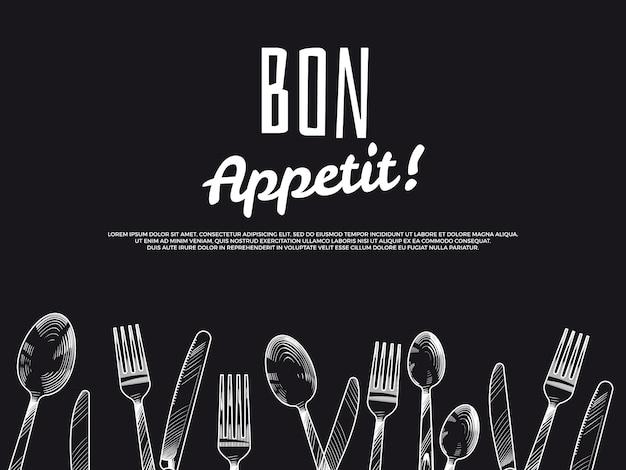 Talheres vintage mão desenhada. projeto de bandeira preta bon appetit