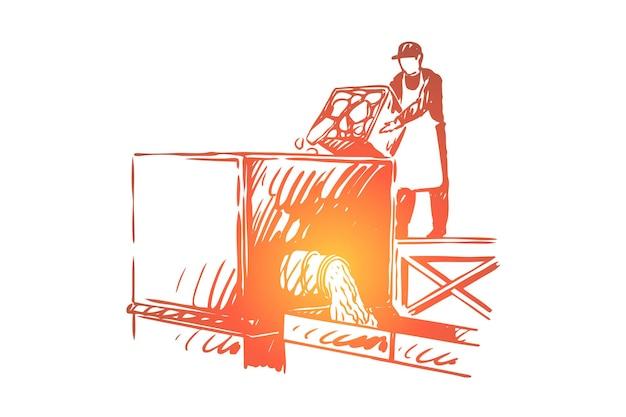 Talho, ilustração de funcionário de fábrica de alimentos