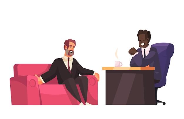 Talk show político com convidado no sofá e apresentador na ilustração de mesa