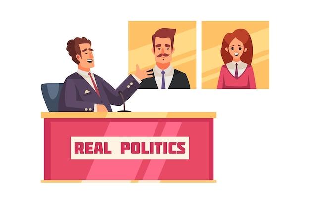 Talk show político com o personagem do apresentador sentado à mesa discutindo a ilustração dos candidatos