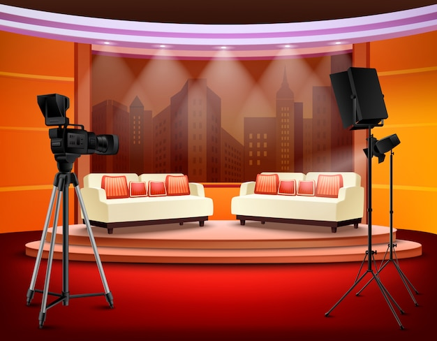 Talk show studio interior