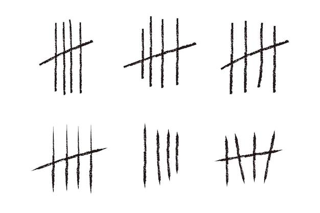 Tally marca linhas ou paus desenhados à mão, isolados no branco