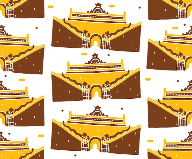 Taman sari seamless pattern em estilo design plano