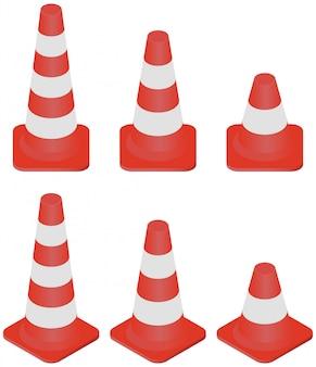 Tamanho diferente isométrico da coleção dos cones do tráfego isolado no branco.