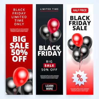 Tamanho vertical do banner preto venda sexta-feira para sites