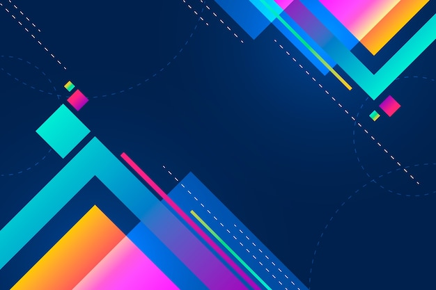 Tamanhos coloridos de fundo gradiente quadrados com espaço de cópia