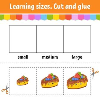 Tamanhos de aprendizagem recortar e colar nível fácil