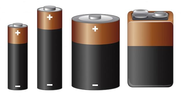 Tamanhos diferentes de bateria