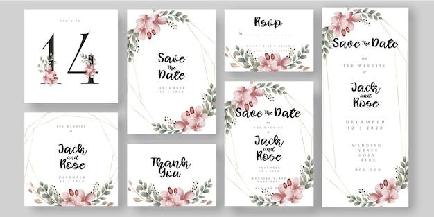 Tamanhos universais do cartão botânico floral do convite do casamento