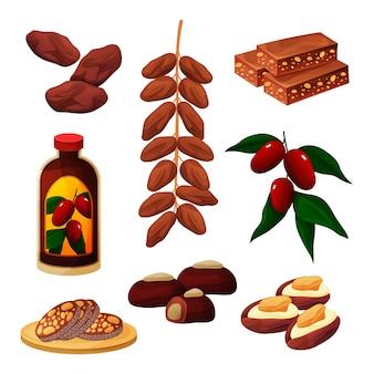 Tâmaras, frutas, alimentos e produtos, sobremesas e salgadinhos doces Vetor Premium