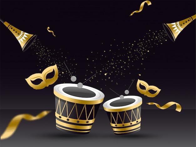Tambor com máscara de ouro, trompete e confetes.