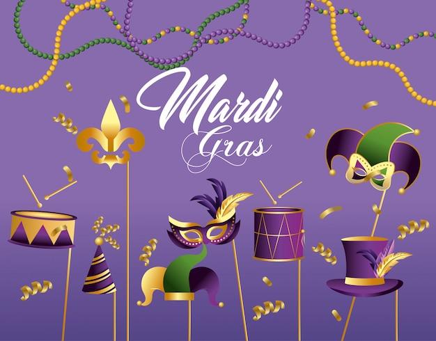 Tambor com máscara e chapéu de decoração para evento merdi gras