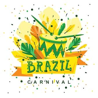 Tambor de carnaval brasileiro com pauzinhos e penas no fundo com uma fita na frente