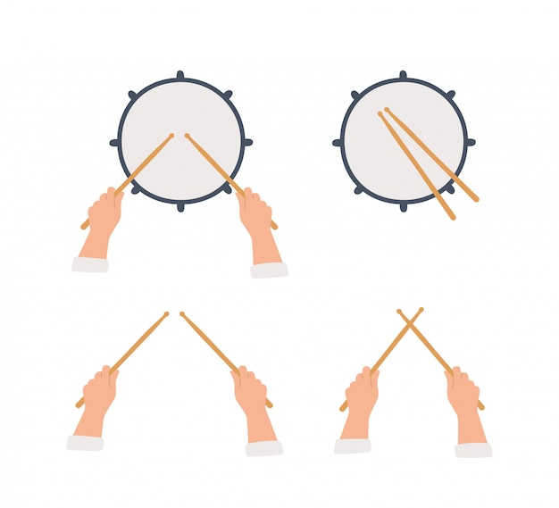 Tambor de mão desenhada e mãos segurando baquetas.