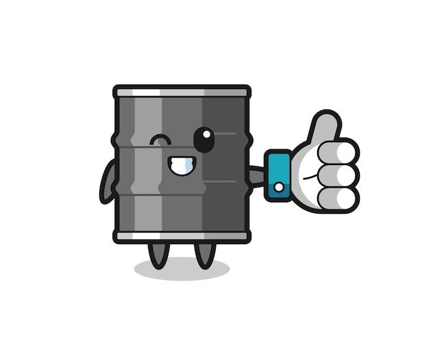 Tambor de óleo fofo com símbolo de polegar para cima nas redes sociais, design fofo