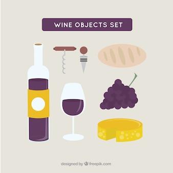Tambor e elementos de design plano vinho