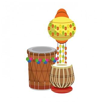 Tambores de tabla indianos e luz de papel