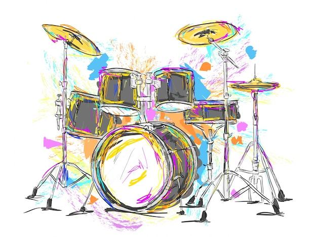 Tambores desenhados mão