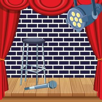 Tamborete microfone holofotes cortinas palco stand up comedy show
