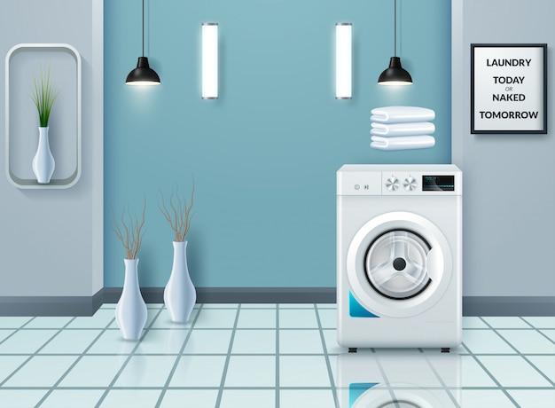 Tampa da lavanderia com máquina de lavar roupa