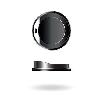 Tampa de copo de café-chá de plástico preto, boné, modelo de tampa.