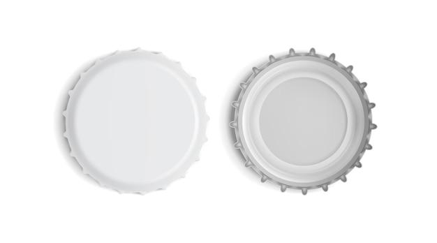 Tampa de garrafa branca vista superior e inferior isolada