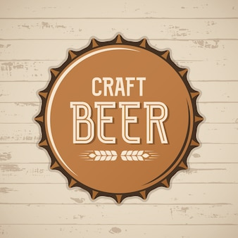 Tampa de garrafa de cerveja artesanal. logo de cervejaria de vetor, emblema, distintivo.