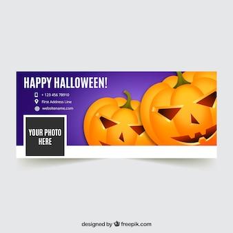 Tampa de halloween feliz com abóboras