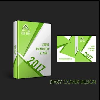 Tampa do diário com formas geométricas em tons verdes