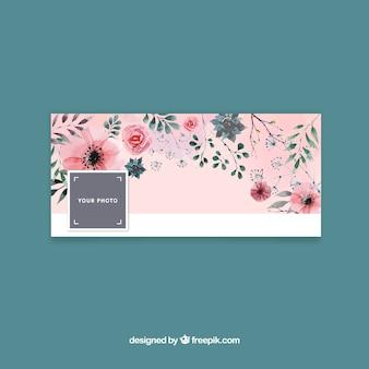 Tampa do facebook com design floral