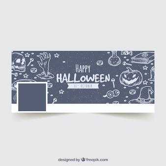Tampa do facebook com esboços de halloween